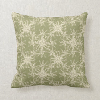 Golden Olive Green Damask Pattern Throw Pillow