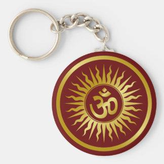 Golden Om Basic Round Button Keychain