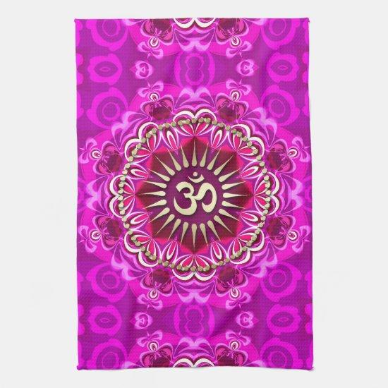 Golden OM Modern Pink Floral Batik Cloth Banner