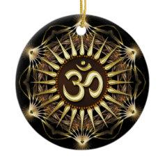 Golden OM Organic Hexagon Ceramic Ornament
