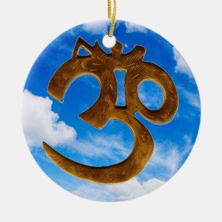 Golden Om & sky Ceramic Ornament