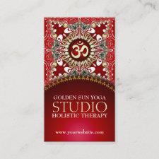Golden OM Yoga Batik Bohemian Red Business Cards