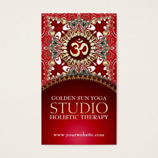 Golden OM Yoga Batik Bohemian Red Business Cards