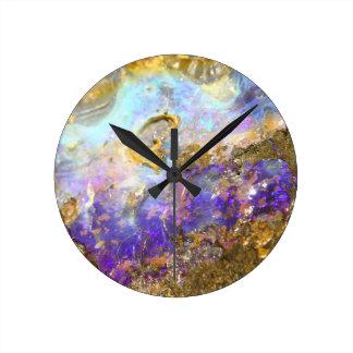 Golden Opal Round Clock