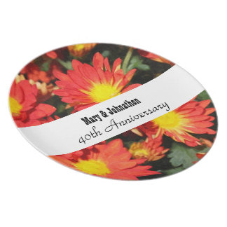 Golden,orange color daisy flowers. Anniversary. Dinner Plate
