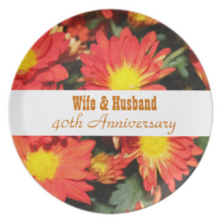 Golden,orange color daisy flowers. Anniversary. Melamine Plate