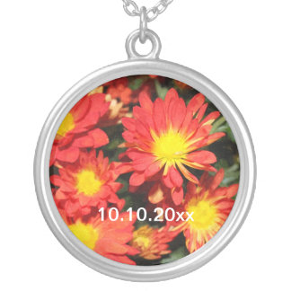 Golden,orange color daisy flowers. silver plated necklace