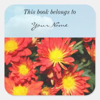 Golden,orange color daisy flowers. square sticker