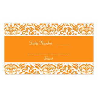 Golden Orange Damask Wedding Table Place Cards Business Card Template