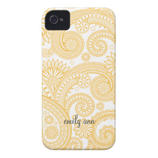 Golden Orange Elegant Paisley iPhone 4 Case-Mate Case