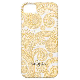 Golden Orange Elegant Paisley iPhone SE/5/5s Case