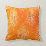 Golden Orange Leaf Pattern Pillow