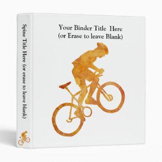 Golden Orange Mountain Biker 3 Ring Binder