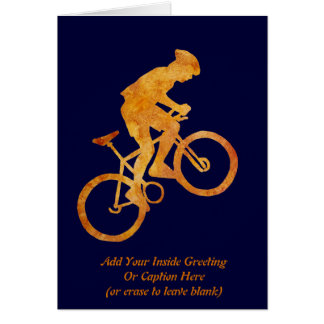 Golden Orange Mountain Biker Card