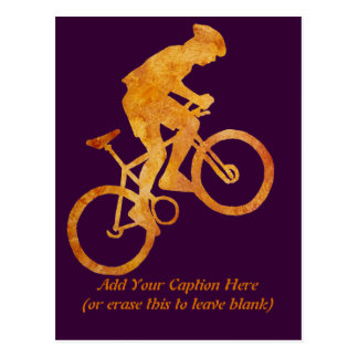 Golden Orange Mountain Biker Postcard
