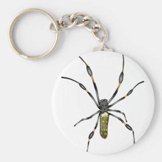 Golden Orb Spider Basic Round Button Keychain