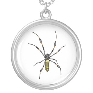 Golden Orb Spider Silver Plated Necklace