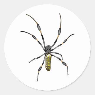 Golden Orb Spider Round Stickers