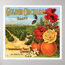 Golden Orchard Los Angeles Fruit Crate Label