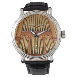 Golden organ pipes wristwatch
