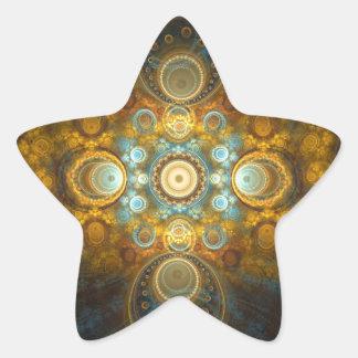 Golden oriental design star sticker