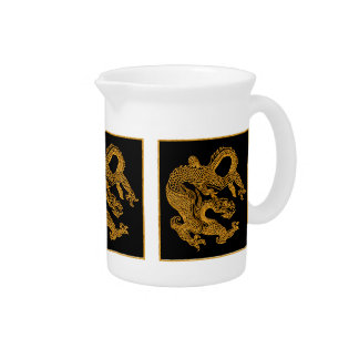 Golden oriental dragon 01 beverage pitcher