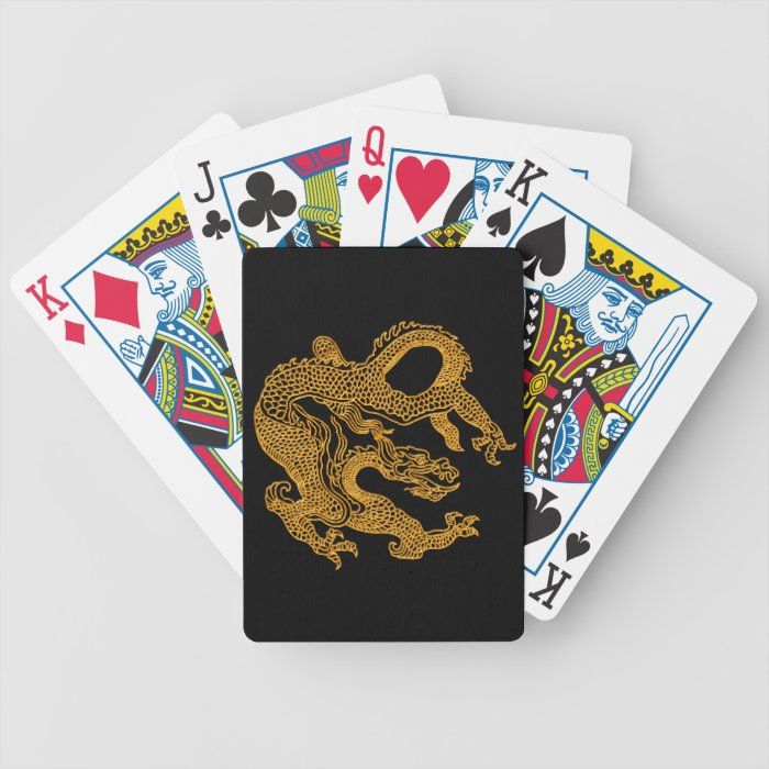 Golden oriental dragon 01 bicycle playing cards