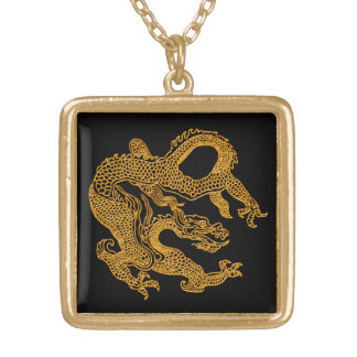 Golden oriental dragon 01 gold plated necklace