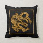 Golden oriental dragon 01 pillow