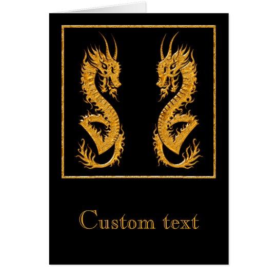 Golden oriental dragon 02 card