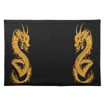 Golden oriental dragon 02 cloth placemat