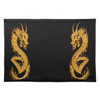 Golden oriental dragon 02 cloth placemat