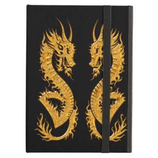 Golden oriental dragon 02 iPad folio cases