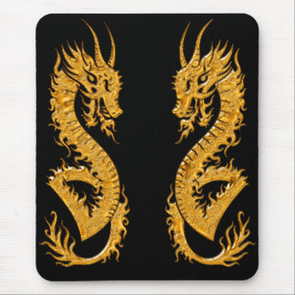 Golden oriental dragon 02 mouse pad