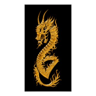 Golden oriental dragon 02 (right) posters