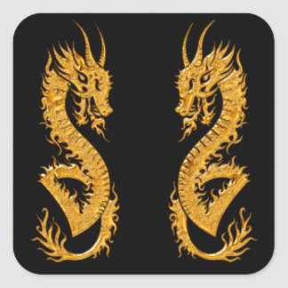 Golden oriental dragon 02 square sticker