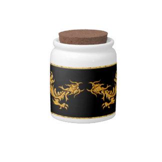 Golden oriental dragon 03 candy jars