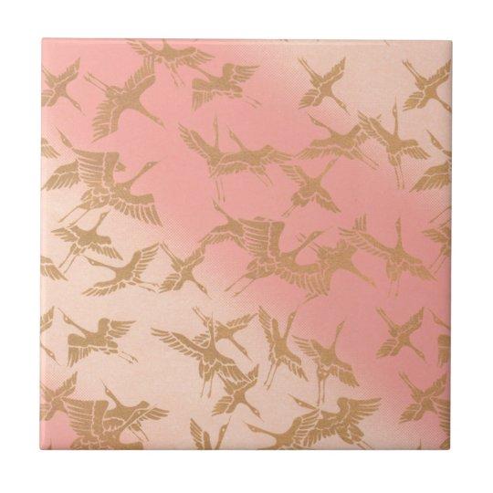 Golden Origami Crane Ceramic Tile
