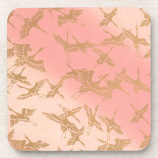 Golden Origami Crane Drink Coasters