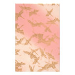 Golden Origami Crane Personalized Stationery