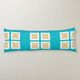 Golden Ornament, Bright Blue Body Pillow