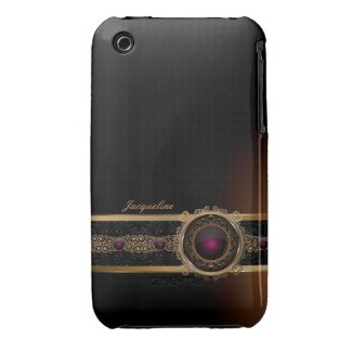 Golden Ornament Luxury Purple Diamond Eye Name iPhone 3 Cover