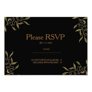 Golden Ornament Zentangle Black RSVP Card Announcement