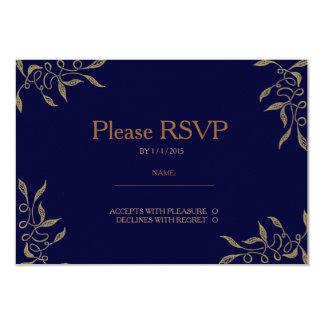 Golden Ornament Zentangle Blue RSVP Card Invitations