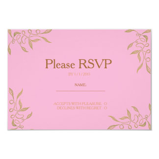 Golden Ornament Zentangle Pink RSVP Card Personalized Invite