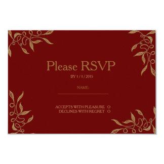 Golden Ornament Zentangle Ruby RSVP Card Announcement