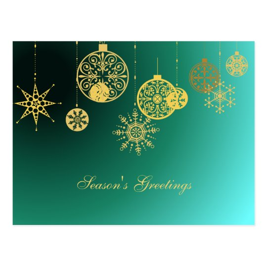 Golden Ornaments Against Turquoise Postcard