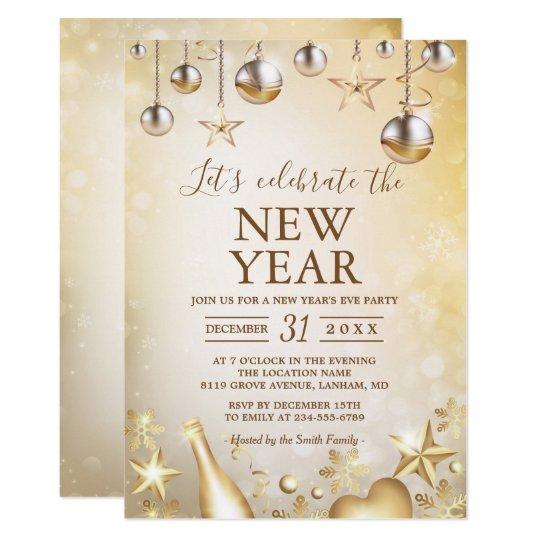 Golden Ornaments Celebrate the New Year\'s Party Invitation   Zazzle.com
