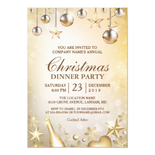 Golden Ornaments Christmas Corporate Holiday Party Card at Zazzle