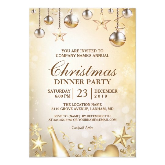 Golden Ornaments Christmas Corporate Holiday Party Card Zazzle Com